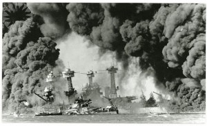 Ship sinking in Pearl Harbor