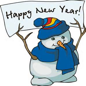 Snowman holding Happy New Year sign.